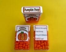 PUMPKIN POOP,Tic Tac label,Halloween favor,Halloween sticker,Halloween candy,Halloween party,pumpkin candy