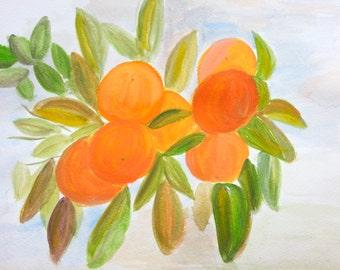 Oranges painting original, oranges artwork , orange picture, orange watercolour, oranges art, fruits art, 12 x 9 inches