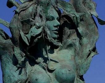 MERMAID statue, patina green and blue, la Sirenetta e il pescatore, Seaside photo,  Italy home decor, Seaside photo print