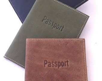 Classic leather passport cover, case, distressed brown, distressed green, distressed black, men/women leather passport, a gift for him/ her.