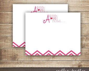 Chevron Note Card / Love Notes / Pink Chevron Note Card /Stationary / Valentine's Day / INSTANT DOWNLOAD - Printable
