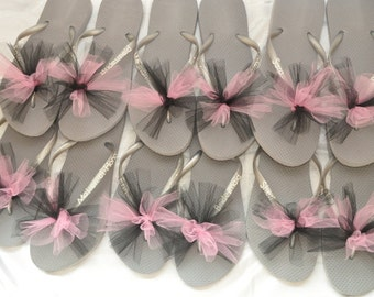 Free USA Shipping! Custom WEDDING Flip Flops BRIDESMAID Bride Flip Flops, Personalized Tulle Flip Flops, Bridesmaid Gifts, Beach Weddings