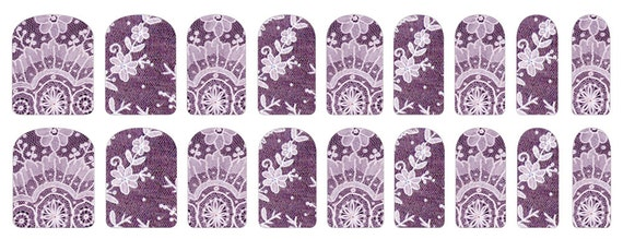 Nail Stickers with Vintage Purple Lace