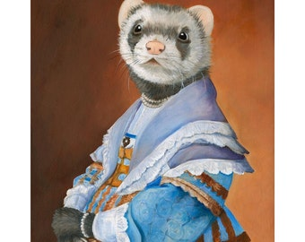 Ferret Prints, Ferret in a Blue Dress, Ferret Art Portrait, Ferret Clothes