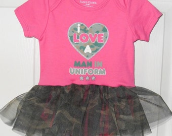 I love a man in uniform pink baby bodysuit with camo tulle tutu