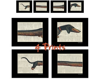 Dachshund Wiener Dog - Dictionary Art Prints - Set of 4 - Book Page Art - Home Decor Print No. P171