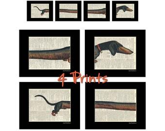 Dachshund Wiener Dog - Dictionary Art Prints - Set of 4 - Book Page Art - Home Decor Print No. P171