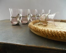 Soviet vintage woven tray and 6 shot glasses SET Braided tray and glasses with metal glass holders Soviet Vintage 1970's