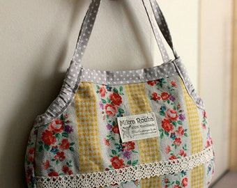 "Mini Granny bag -  ""Yellow spripe with flowers """