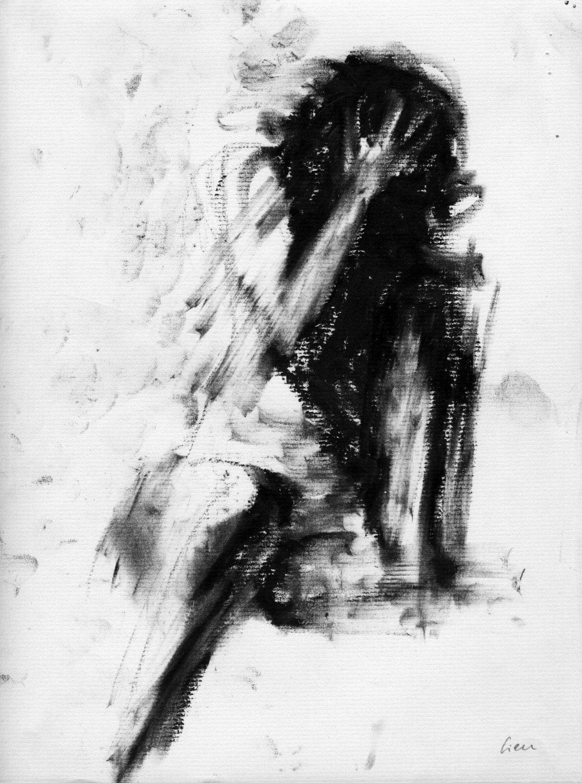 Haunting figure drawing moody dark fine art crayon figure - Dessin sombre ...