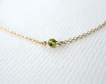 Gold Tiny Peridot Necklace - August Birthstone Jewelry, Great Mother's Day Gift