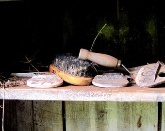 Still Life Photograph - Vintage Horse Grooming Print - Abandoned Stable Art - Gift for Riders - Horse Lovers Photography