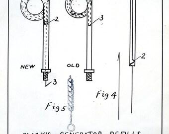 1940s or 50s Inventers Drawing Blacks Generator Refills