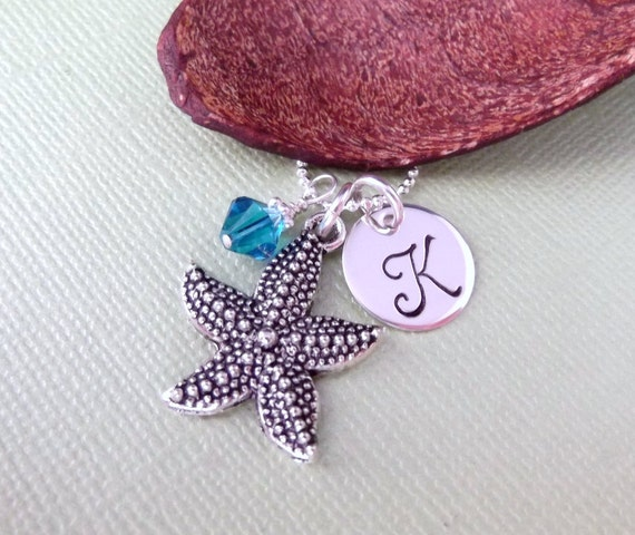 Starfish Charm Necklace with Initial Charm and Birthstone- Starfish Necklace- Hand Stamped Children's Jewelry