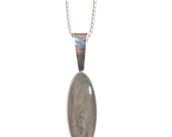 Long Oval Cremation Pendant, 22 x 8mm  - Sterling Silver Pet Ashes Jewelry