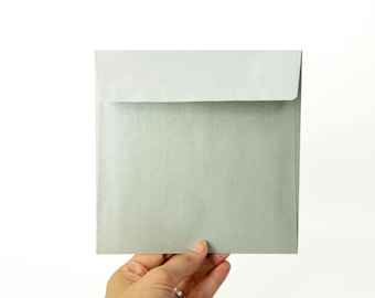 "6x6 Silver Square Envelopes - Perfect for 5 1/2"" x 5 1/2"" cards and invitations (pack of 10 or 20)"