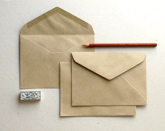 "50 C6 Brown Kraft Envelopes - triangle flap - for A6 cards and 4x6 photos - Size: 4 1/2""x6 3/8"""
