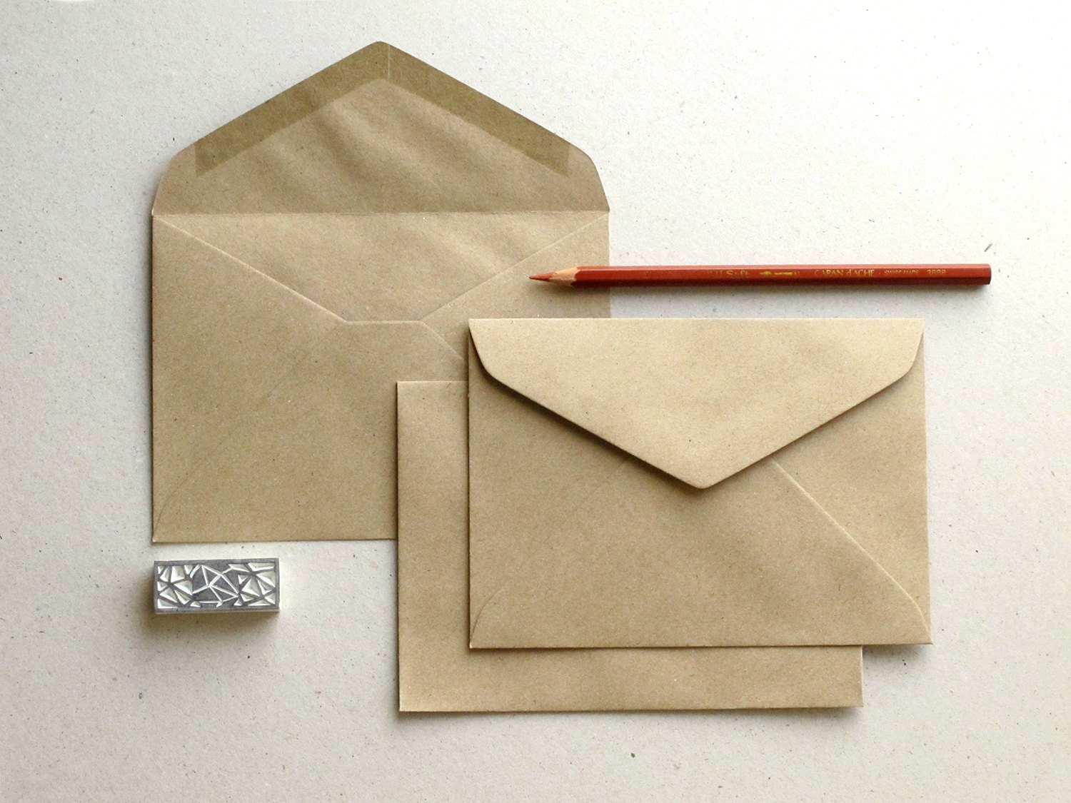 50 C6 Brown Kraft Envelopes triangle flap for A6 cards and