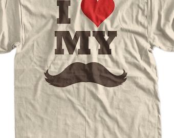 Funny Dad Moustache T-Shirt - I Heart My Moustache Tee Shirt T Shirt Geek Mens Ladies Womens Youth Kids