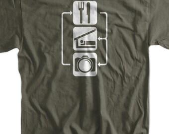 Eat Sleep Shoot V2 Large Lens DIGITAL Camera Photography Photographer T-Shirt Tee Shirt T Shirt Mens Ladies Womens Youth Kids Funny Gee