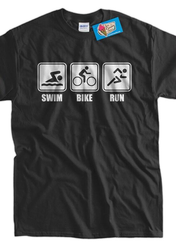 Funny Work Out T shirt Athlete Triathlon V1 Swim Bike Run T