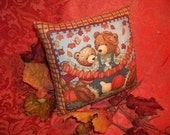 Country Bears Pumpkin Patch Fall Leaves Accent Pillow, Hand Crafted Fall Home Decor - TKSPRINGTHINGS