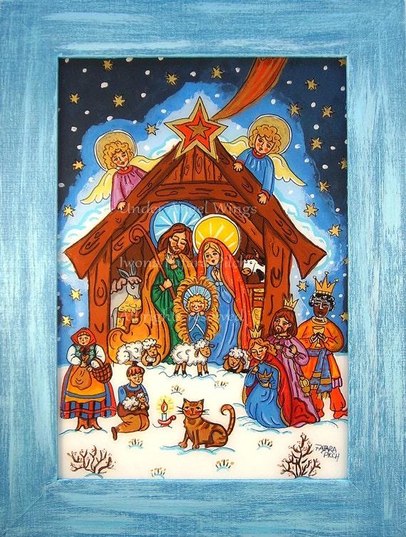 Folk art nativity painting Nativity art Nativity scene Holy Family Three Kings Christmas painting Christmas wall art Christmas decorations