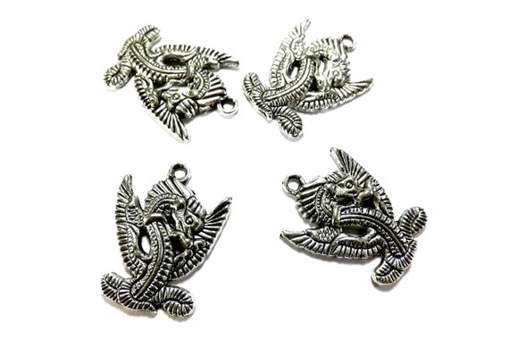 Pendant: Chinese Dragon Charms, Focals, Antiqued Silver, Set of 5, 27x22mm, SLT018