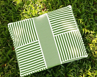Green Striped Dog Bed Cover - Machine Washable, Printed Heavy-Weight Cotton