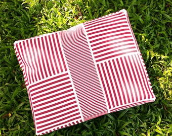 Pink Red Striped Dog Bed Cover - Machine Washable, Printed Heavy-Weight Cotton