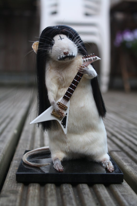 Anthropomorphic Taxidermy Rat. Black Metal. Corpse Paint. Goth. Guitar. Ornament. Oddity. Curio. Dolls house. Gift