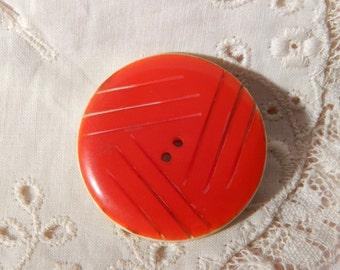 Bright Orange Laminated on White Casein Button