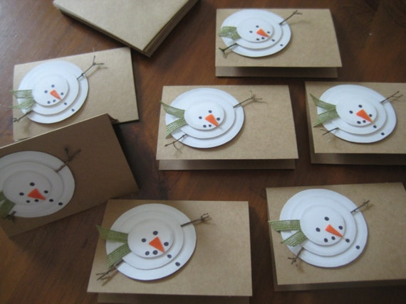 handmade christmas cards rustic snowman let it snow set of