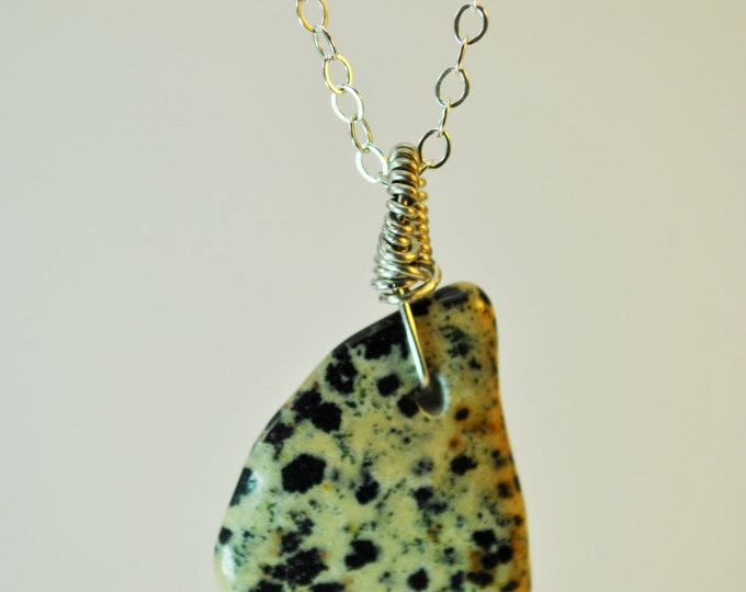 Dalmatian Jasper Stone pendant necklace with Sterling Silver 18 inch chain simple, boho, minimalist
