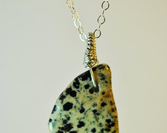 Dalmatian Jasper Stone pendant necklace with Sterling Silver 18 inch chain simple, boho, minimalist