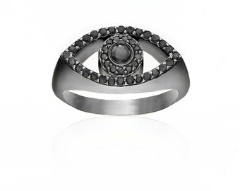 Evil Eye Black Diamond Ring
