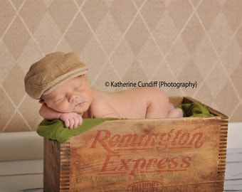 Baby newsboy hat, photo prop newsboy cap - corduroy tan color  - made to order