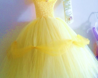 Girls Tutu Belle (inspired) with gloves  size 4,5 or 6
