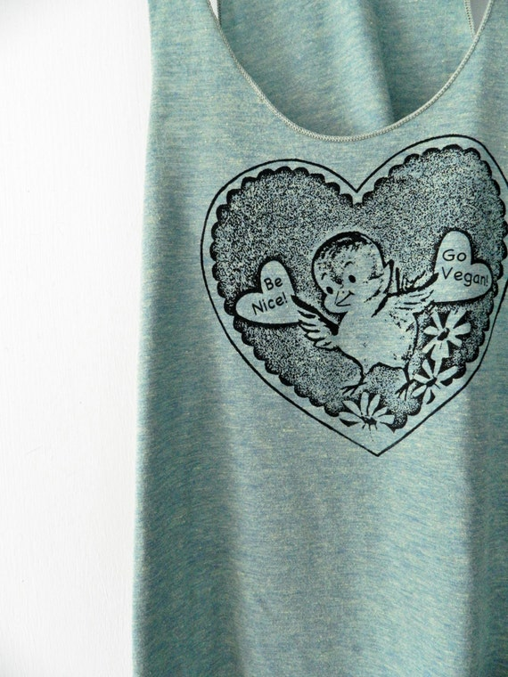 Be Nice Go Vegan Heart Tank / Pick your color and size  / Women's cut