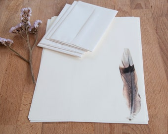 Feather Letter Writing Set, Correspondance Stationery, Eco Friendly Letter Paper