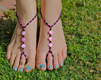 Black and Pink Diamond Barefoot Sandals, Slave Anklet, foot jewelry, ankle bracelet with toe ring