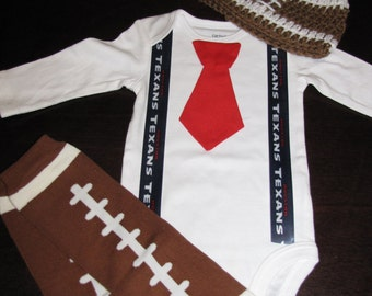 HOUSTON TEXANS inspired football outfit for baby boy - tie bodysuit with suspenders, crochet hat, leg warmers