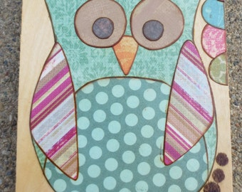 Mixed media collage art on wood--Owl