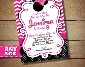 HUGE SELECTION Pink Chevron Minnie Mouse Invitation, Polka Dot Minnie Mouse Printable Invitation, 2nd 3rd 4th 5th 6th Birthday Invitation