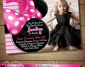 HUGE SELECTION Minnie Mouse Birthday Invitation, Pink Polka Dot Minnie Mouse Invitations, Minnie Party Printables, The Printable Occasion
