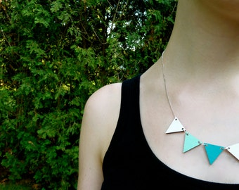 Pennant Wood Necklace //  Aqua Blue Bunting Necklace // Reversible // Geometric Wood Necklace