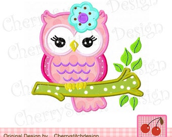 Flower sweet owl on a branch-Digital Embroidery Applique -4x4 5x7 6x10-Machine Embroidery Applique Design