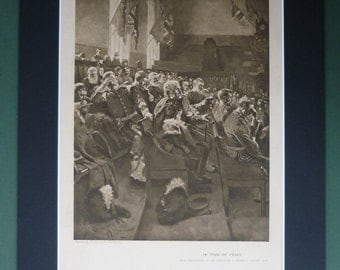 1890s Large R Gemmell Hutchinson Antique Print, In Time Of Peace - Military Print - Soldiers - War - Army Veterans - Victorian Matted Print