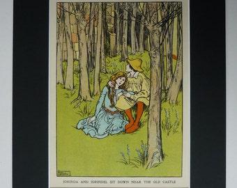 1929 Vintage Print Of Jorinde & Joringel - Illustration - Brothers' Grimm Fairytale - Antique Print - Jorinda And Jorindel - Helen Stratton