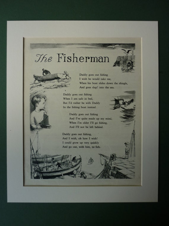 1957 Vintage Fishing Print Retro 1950s Poem Children S
